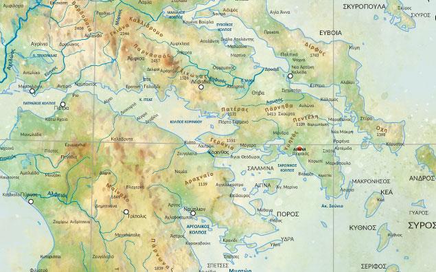 γεωφυσικός χάρτης Ελλάδας λεπτομέρεια