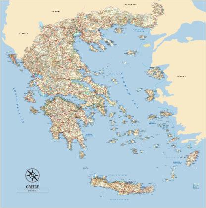 Greece wall map