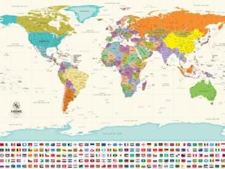 παγκόσμιος χάρτης στα Ελληνικά με σημαίες χωρών