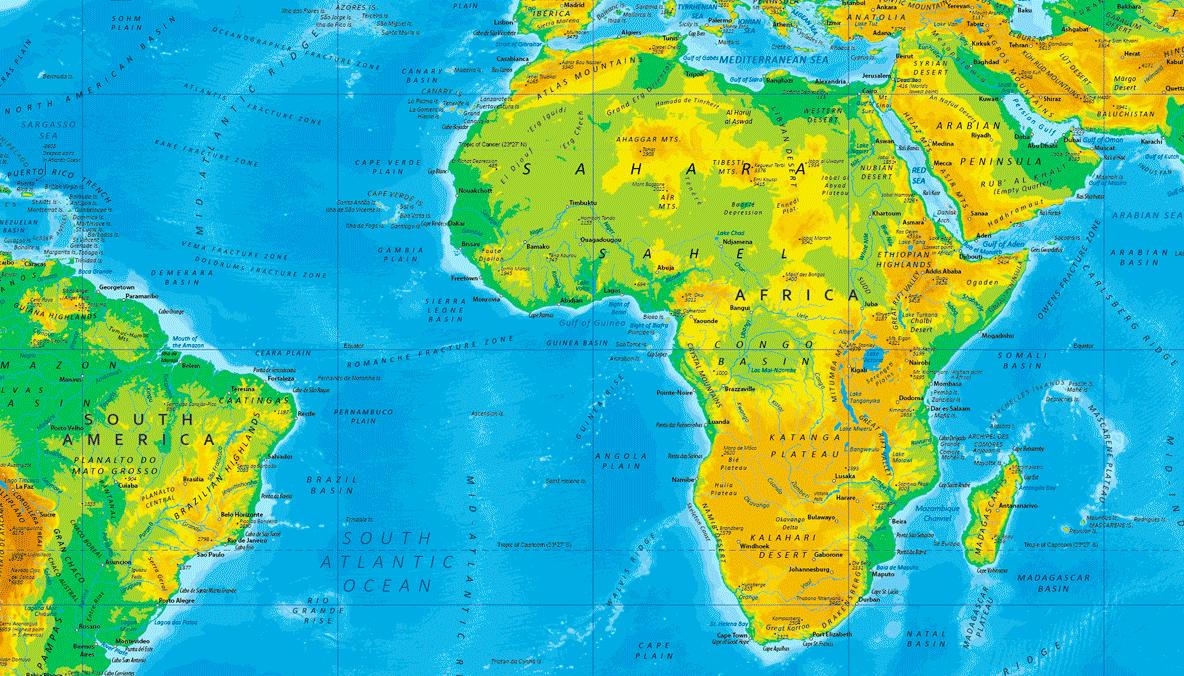 παγκόσμιος γεωφυσικός χάρτης λεπτομέρεια