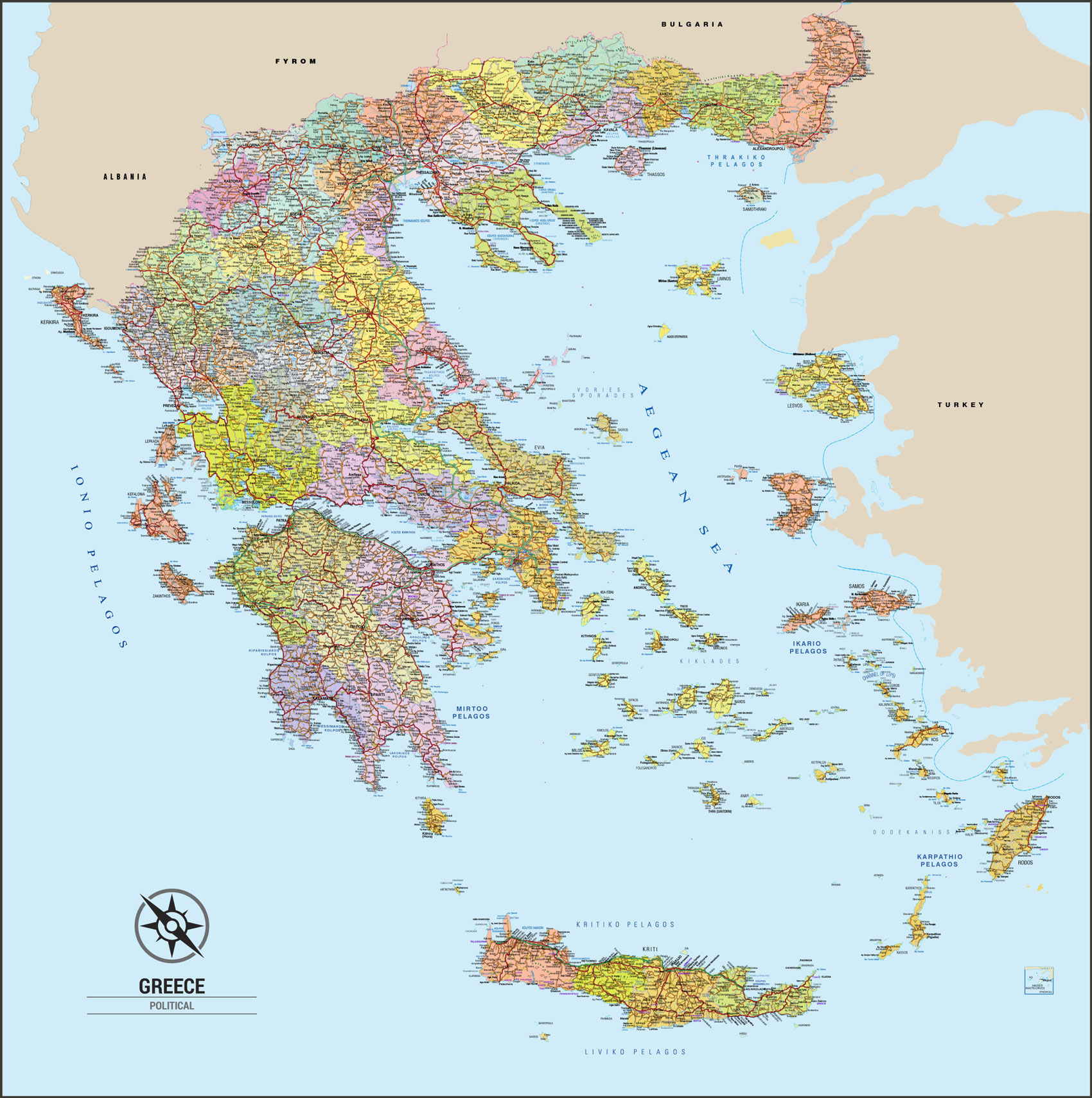 Greece Map Political English Xartes Toixoy