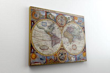 vintage χάρτης σε κμβά με τελάρο
