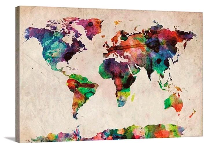 χάρτης τοίχου σε καμβά με τελάρο