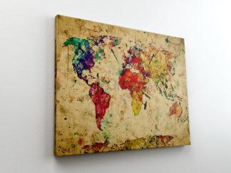 Παγκόσμιος χάρτης υδατογραφία Καμβάς με τελάρο