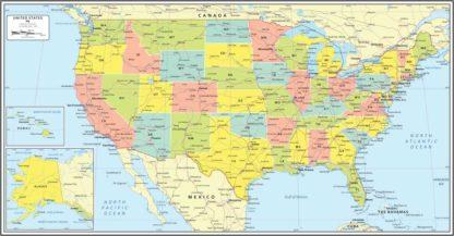 Χάρτης Αμερικής λεπτομερής