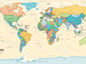 παγκόσμιος χάρτης Ελληνικά σε καμβά