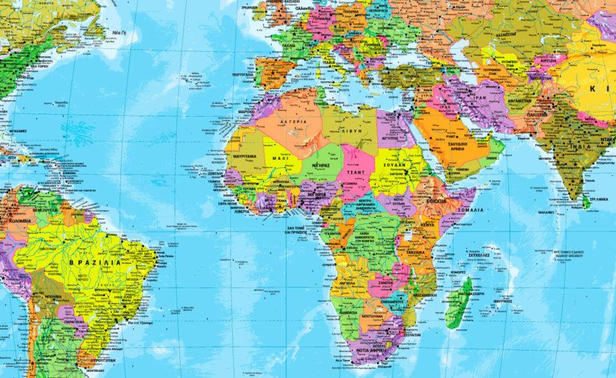 παγκόσμιος χάρτης στα Ελληνικά λεπτομέρεια