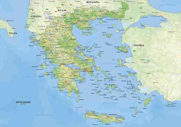 γεοφυσικός χάρτης Ελλάδος