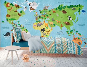 Χάρτης ταπετσαρία παιδικό δωμάτιο