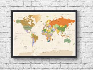 Παγκόσμιος χάρτης σε ξύλινη κορνίζα
