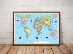 Κορνίζα ξύλινη Παγκόσμιος χάρτης