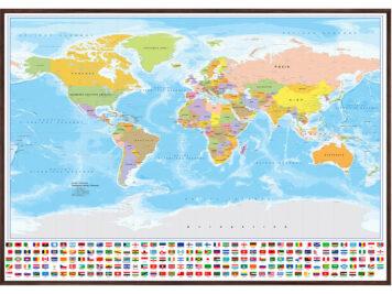 Ξύλινη κορνίζα Παγκόσμιος χάρτης