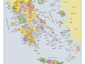 Χάρτης Ελλάδας με νομούς μουσαμάς με μπάρες αλουμινίου