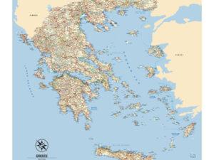 Χάρτης Ελλάδας μουσαμάς με μπάρες αλουμινίου