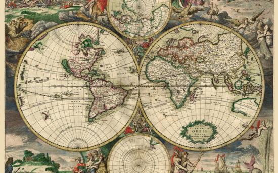 Χάρτης του 1689 καμβάς με τελάρο