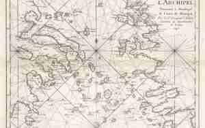 Ναυτικός χάρτης Αιγαίου αντίκα Αρχιπέλαγος Αιγαίον του 1745 Εξαιρετκός και σπάνιος χάρτης του Αιγαίου του 1745, έργο του J.F. Letenneur