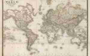 World Atlas 1837 Παγκόσμιος χάρτης του 19ου αιώνα . Προβολή Mercator. Πολύ λεπτομερής & διακοσμητικός χάρτης για το σπίτι ή το γραφείο. (1837). Παραγγελία σε ότι μέγεθος και υλικό θέλετε.