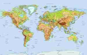 Παγκόσμιος Γεωφυσικός χάρτης. Βαθυμετρικός και υψομετρικός. Πρωτεύουσες μεγάλες πόλεις. Ποτάμια και λίμνες, Ωκεανοί και θάλασσες. Νησιά. Υπέροχα χρώματα & υψηλή ανάλυση.